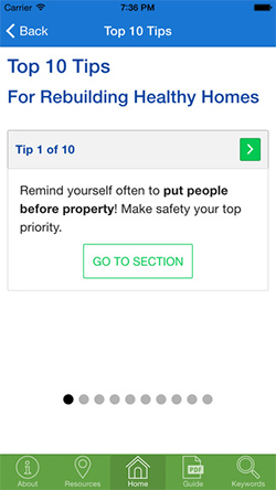 HUD Rebuild Healthy Homes app Top 10 Tips screen