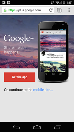 An ad for downloading the Google Plus app