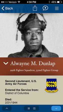 Screenshot of the personal story of Alwayne M. Dunlap, Second Lieutenant, U.S. Army Air Forces, from the Sicily-Rome American Battle Monuments Commission (ABMC) app.