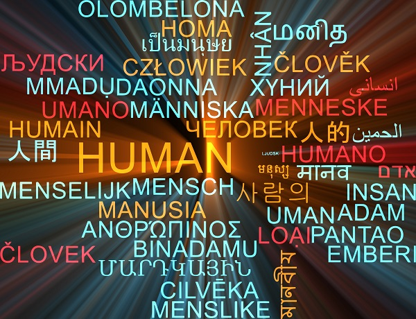 Multilingual word cloud for human.