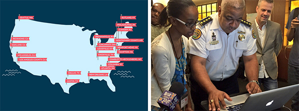 Cities participating in the Police Data Initiative (Graphic by Chris Wong) & Student helps Police Superintendent Harrison write his first line of code (Photo by Tyler Gamble of the New Orleans Police Department)