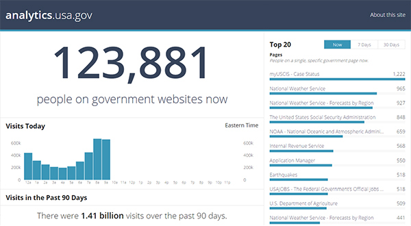 A screencapture of the anaylytics.usa.gov dashboard on August 14, 2015