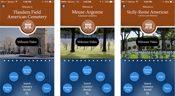 A composite of screenshots of homescreens for three American Battle Monuments Commission (ABMC) apps: Flanders Field American Cemetery, Meuse-Argonne American Cemetery, and Sicily-Rome American Cemetery and Memorial.