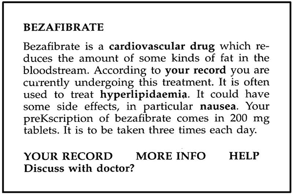 Screen capture of a definition of the drug, Bezafibrate, via the PIGLIT project.