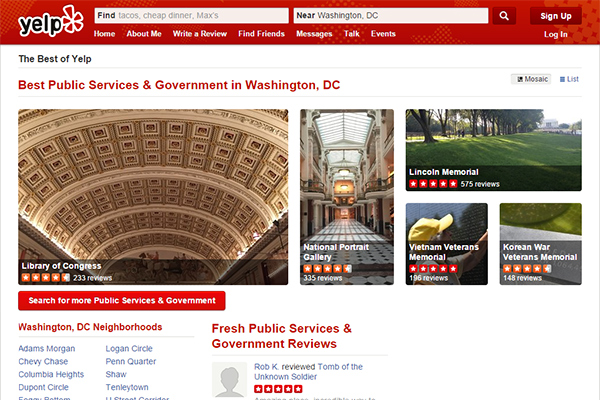 A screen capture of Yelp's Best Public Services & Government in Washington, DC page