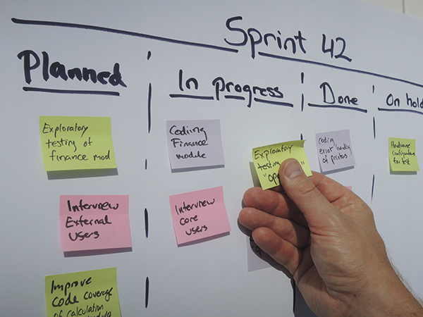 An example of a sprint plan being updated with Post-Its on a white board during a daily scrum meeting for agile software development