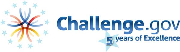 The Challenge.gov 5 years of excellence logo.