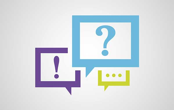 Clean and color speech balloons with question, information, and chat symbols
