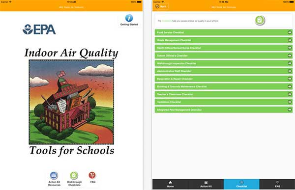 EPA School IAQ Assessment Tool's home and checklist screens from an iPad