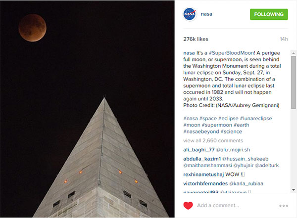 The September 27, 2015 Super Blood Moon eclipse, seen above the Washington Monument in Washington, D.C., in an Instagram post by NASA.