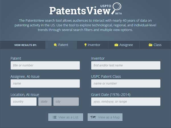 Screen capture from the U.S.P.T.O. Patents View homepage