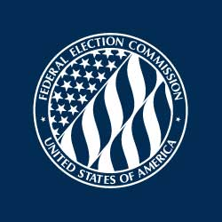 U.S. Federal Election Commission (FEC) white seal on blue background