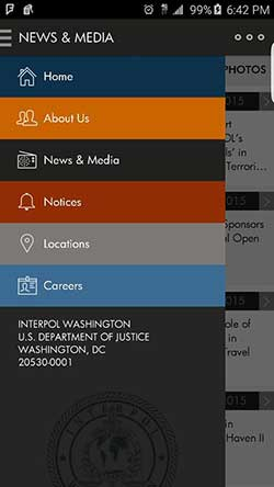 INTERPOL Washington Android app's News and Media screen, with the Menu open.