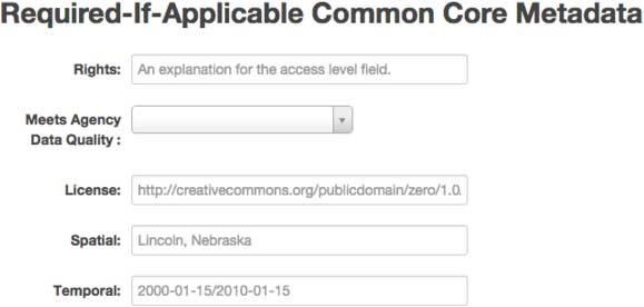 Screen capture of Required-if-applicable common core metadata