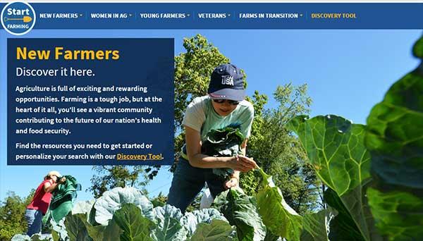 USDA New Farmers homepage screen shot