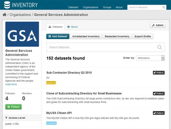 Screen capture of 153 datasets found for GSA