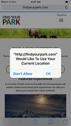 Screen capture of the Find Your Park service on an iPhone asking for permission to use the phone's Current Location.