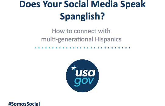 Screencap of Does Your Social Media Speak Spanglish? How to connect with multi-generational Hispanics event, including the Somos Social hashtag.