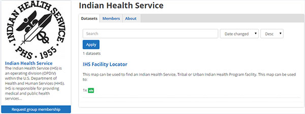 A screen capture of the HealthData.gov website page for the Indian (Native American) Health Service (IHS) division of the U.S. Department of Health and Human Services (HHS). The dataset is for an I H S Facility Locator.