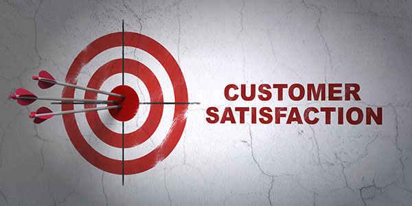 Marketing concept target and Customer Satisfaction on wall background
