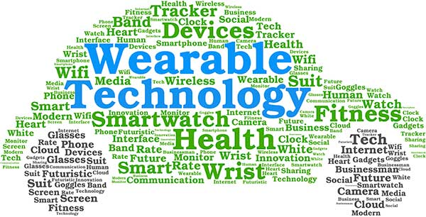 Wearable technology and IoT Internet of Things word cloud in the shape of a car