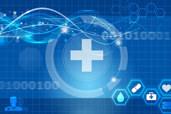 Futuristic concept art of medical icons and binary data streams
