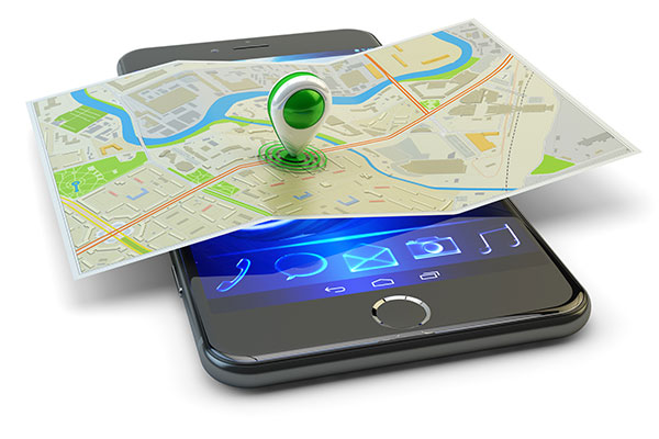 Mobile phone gps navigation, travel destination, location and positioning concept of a map and single marker over a smart phone