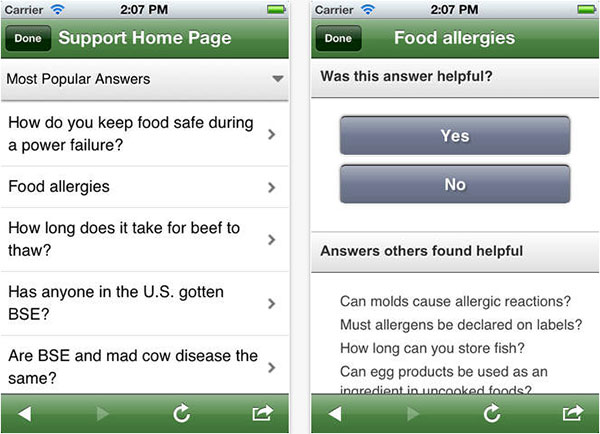 Support and food allergies screens of the USDA Ask Karen iPhone app.
