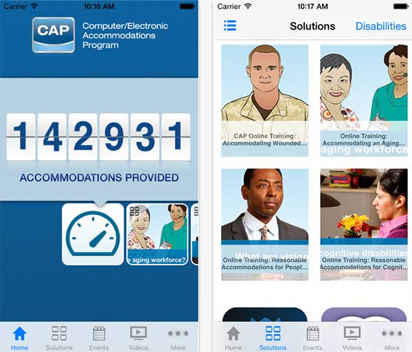 The home menu and solutions screens from the Computer Electronic Accommodations Program (CAP) mobile iPhone app