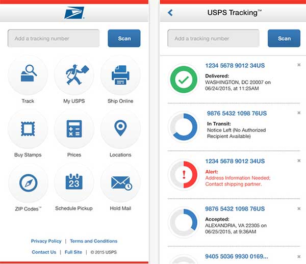 USPS Mobile iPhone app home menu and tracking screens