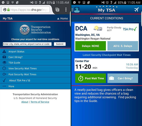 The MyTSA mobile website and app side by side.