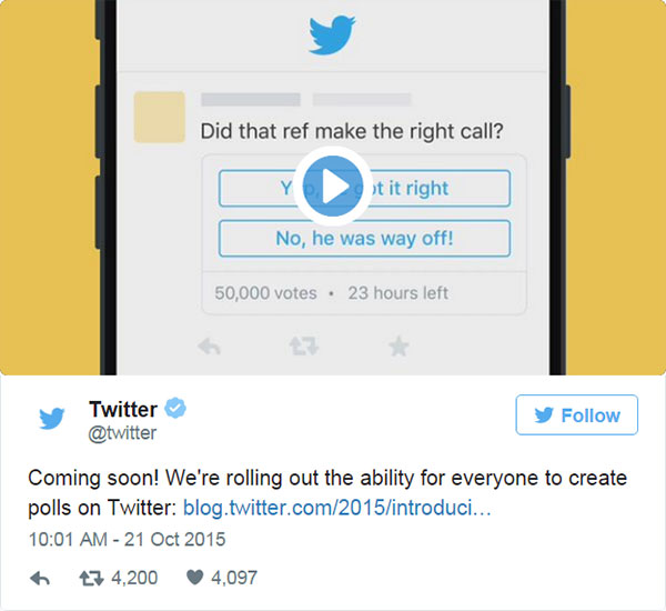 A screen capture of Twitter Polls how to tweet and video