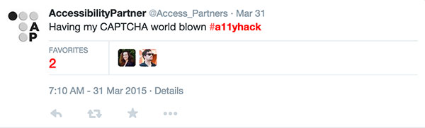 A tweet by Acessibility Partner using the a-1-1-y hack hashtag