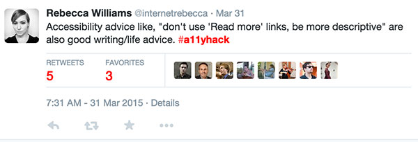 A tweet by Rebecca Williams using the a-1-1-y hack hashtag