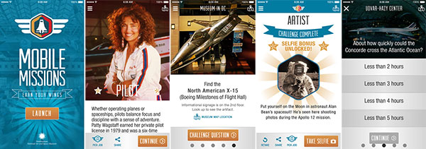 Five screen captures from the Smithsonian National Air and Space Museum's Mobile Missions iPhone app