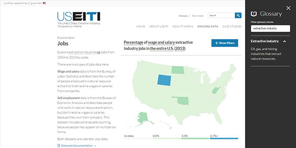 Screen capture of a jobs data visualization map of the United States on the U.S. Extractive Industries Transparency Initiative website
