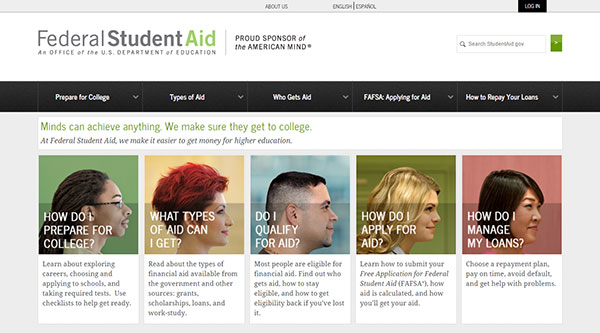 Federal Student Aid website homepage