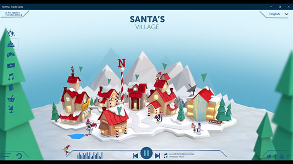 The Santa's Village screen of the Windows 10 app for the NORAD Santa Tracker.