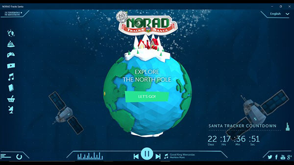 The home screen of the Windows 10 app for the NORAD Santa Tracker.