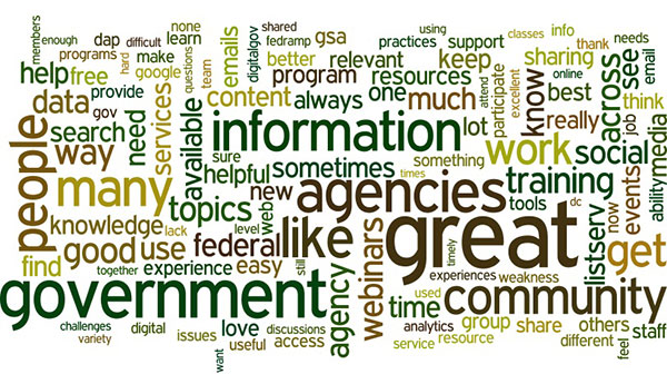 A word cloud of Government Customer Experience Index survey responses.