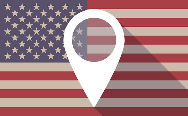Long shadow USA flag icon with a map
