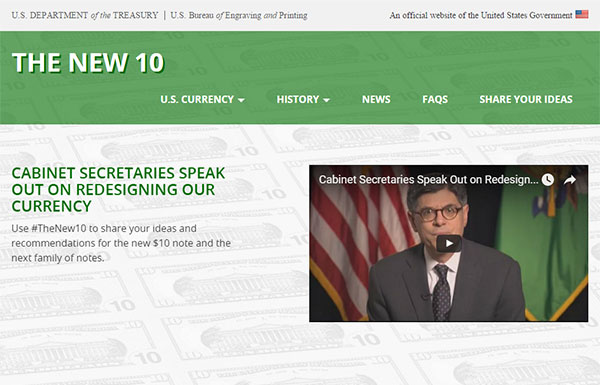Screenshot of the homepage for the website about the redesign of the ten dollar bill.