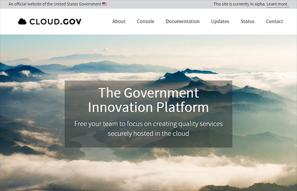 Screen capture of the Cloud dot gov homepage