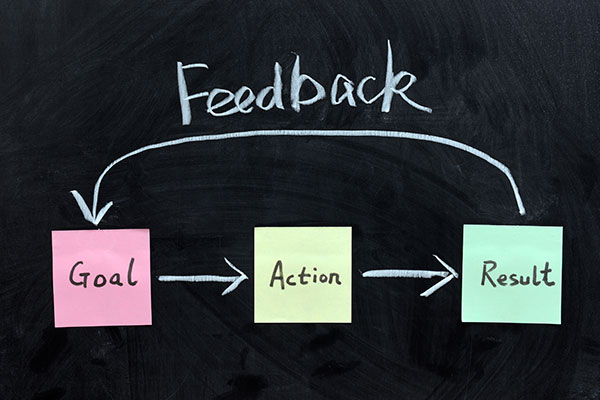 Arrows loop Goal, Action, Result and Feedback as a process on a chalkboard