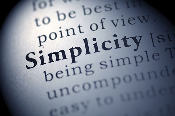A close up of the dictionary definition of the word, simplicity.