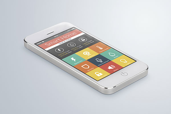 White mobile smartphone with flat design smart home apps