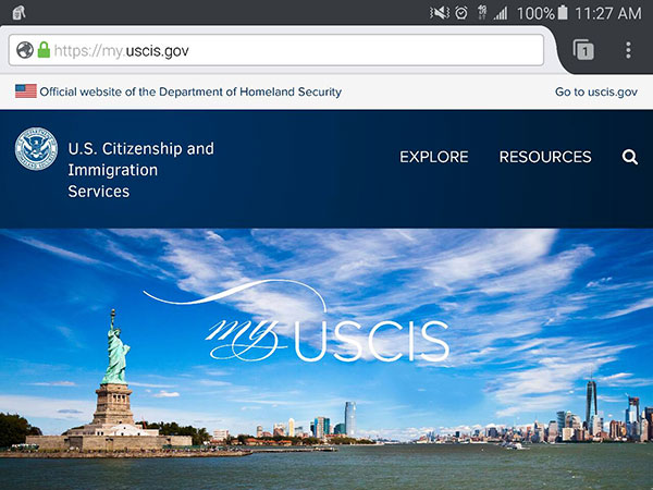 A screenshot of the my dot U S C I S dot gov mobile website on an Android smartphone.