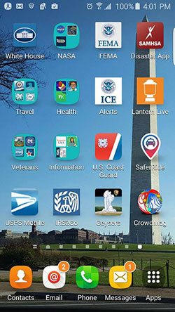 A variety of federal mobile apps for citizens seen on an Android smartphone screen.