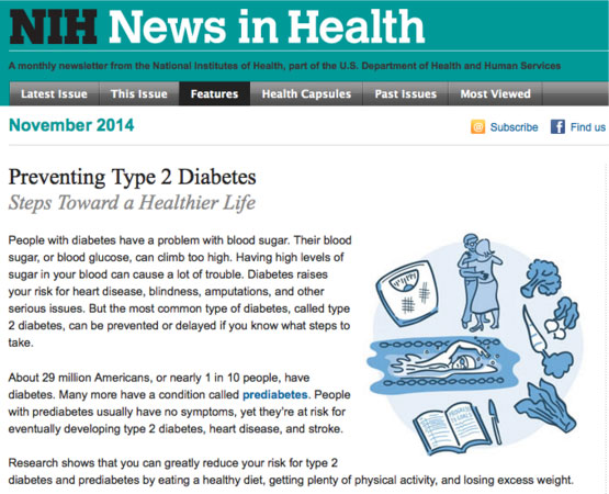 Screencapture of the Preventing Type 2 Diabetes newsletter on the NIH site.
