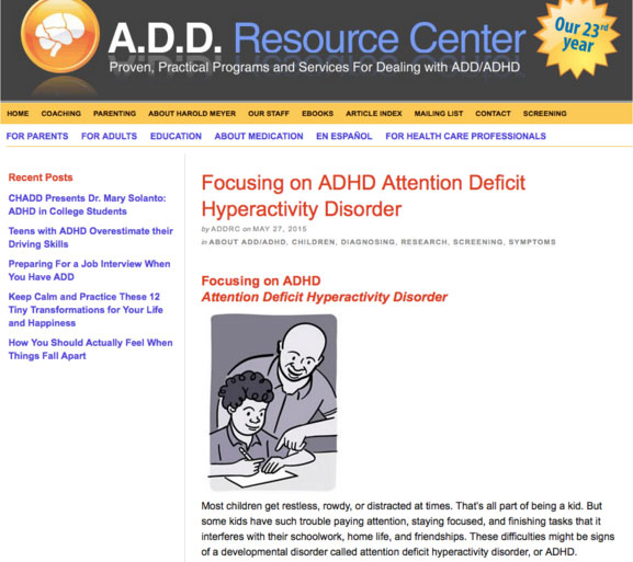Screencapture of the same Attention Deficit Hyperactivity Disorder content displayed on the ADD Resource Center website.